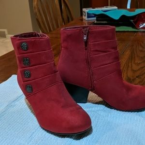Suede red booties, Covington 7 1/2